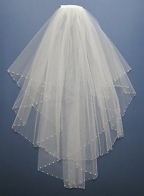 Wedding / Bridal Veil White made with Swarovski Crystal Diamante