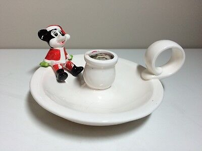 Vintage Mickey Mouse Santa Christmas Candle Holder Japan Disney Ceramic