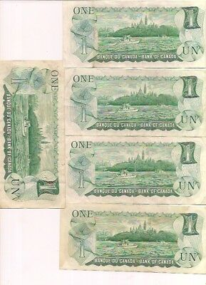 5 Vintage 1973 Canada 1 Dollar Canada Bill Bank of Canada Paper Money