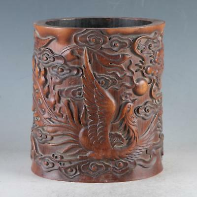 Chinese Bamboo Wood Hand Carved Exquisite Dragon & Phoenix Brush Pot DY479