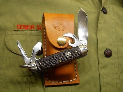 Vintage Boy Scout Ulster Usa Pocket Camp Knife With Custom Sheath