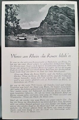 Germany Old Paddle Steamer Black White Photograph Verse Postcard