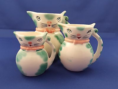 Set 3 Vtg 1960's Lipper Mann Retro Kitty Cat Creamer Jug Holt Howard Era Japan