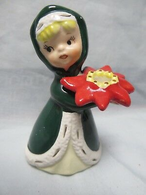 Vintage Napco Lefton Figurine Christmas Figure With Poinsettia,4 Inch,girl,cloak