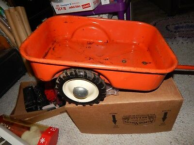 Vintage Allis Chalmers Pedal Tractor Wagon  Must See