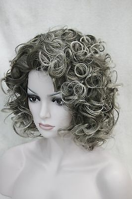 fashion cute cosplay sexy dark root with gray tipped curly short women' full wig