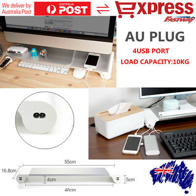 Aluminum Computer Laptop Monitor Stand 4USB Ports For PC iMac