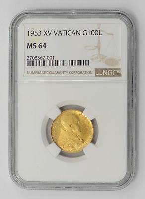 MS64 1953 Vatican Gold 100 Lire - NGC Graded *2566