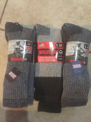 (7) Pair Of New Wolverine Premium Wool Hunting Sock Size L (9-13)