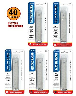 Lot of 5 - Cutter Blade 18mm Snap Off Box Utility Knife Razor Refill 12 Per Pack