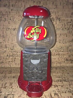"Jelly Belly 9"" Candy Dispenser Glass Dome Red Coin Operated Machine"