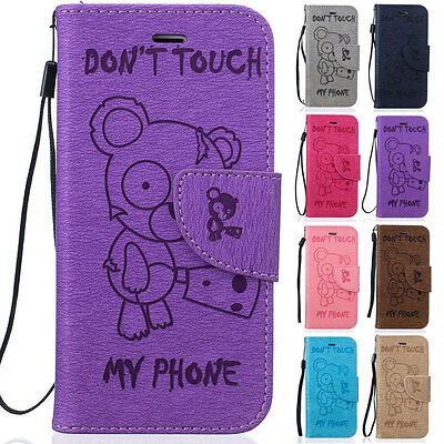 Bear Card Wallet Leather Flip Magnetic Case Cover For iPhone 5 5S 6 6S 7 8 Plus