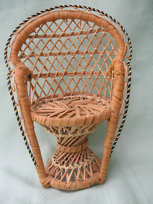 23cm TALL CANE PEACOCK CHAIR SUITABLE FOR  BARBIE SIZE DOLLS