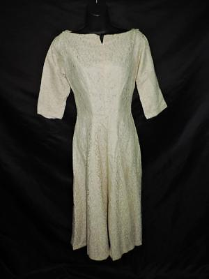 Vintage 50s S Beige Floral Lace Dress Fold Down V Back 3/4 Sleeves Shift Lined