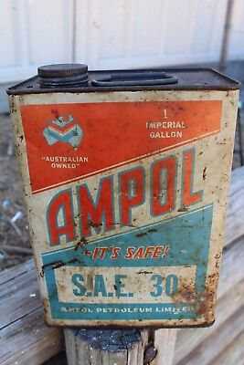 Rare Collectable Ampol Chevron One Imperial Gallon Oil Tin