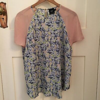 Women's ASOS Maternity Short Sleeved Blouse in Nude and Floral (UK 10)