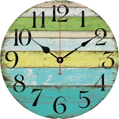 Ocean Theme Clock Old Vintage Look Wall Hanging Home Decor Shabby Rustic Retro