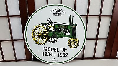"12"" John Deere Round Metal Sign Tractor Green Yellow model A 1934-1952 Farm"