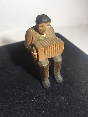 Swiss- Wooden Carved Painted Man Figure - Chair/Pipe/Accordion DETAILED VTG ART