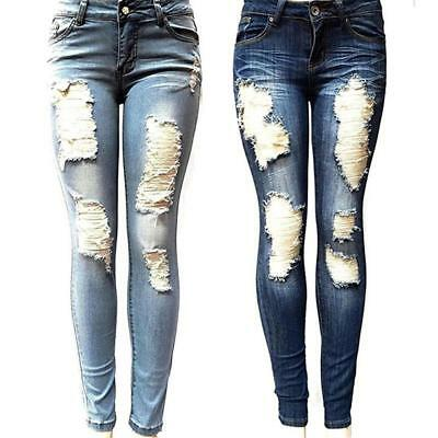 Women Ripped Knee Jeans Pants Denim Stretch Trousers Skinny Elastic Jeggings B