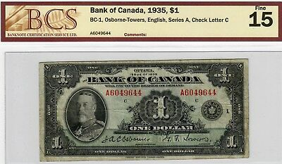 1935 $1 Bank of Canada BC-1, Osborne-Towers English Series A Fine 15