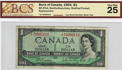 1954 Bank of Canada $1 Modified Portrait Replacement Low Number *O/Y0000110