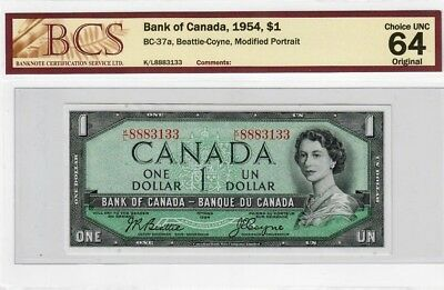 1954 Bank of Canada $1 Modified Portrait Beattie-Coyne Choice Uncirculated 64
