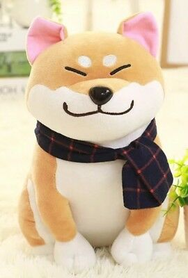 Cute Kabosu Plush Doll Shiba Inu Plush Doll Brown Dog With Scarf Kids Toy