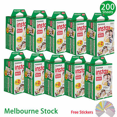 200 PCS Sheet Fujifilm Instax Mini Film Fuji instant photos 7s 8 25 90 Polaroid