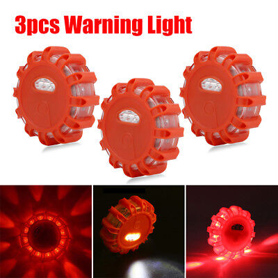3Pack LED Road Flares Flashing Warning Roadside Safety Light for Car Truck