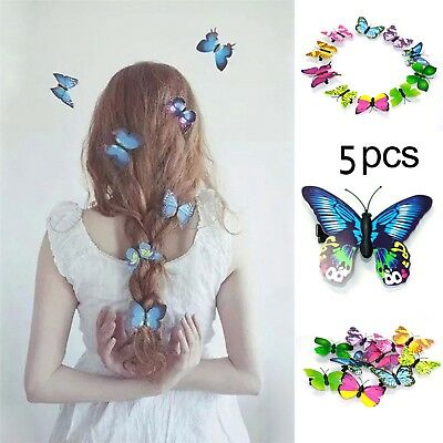 5Pcs Mixed Butterfly Hair Clips Hairpin Accessory 3D Festival Party Wedding