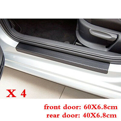 4Pcs Car Door Scuff Plate Sill Stickers Panel Step Protector Decal Carbon Fiber