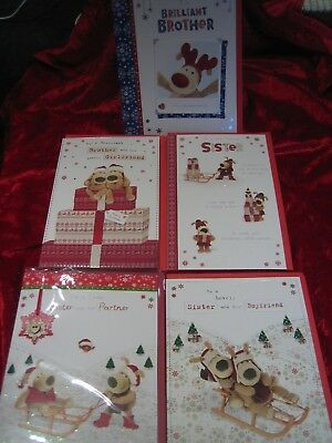 Boofle Christmas Cards Sister, Brother and Brother & Girlfriend Xmas