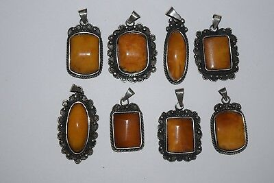 8 x natural butterscotch amber anhänger 61 gramm silver 835