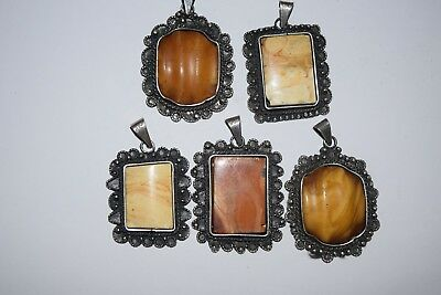 5 x natural butterscotch amber anhänger 55 gramm silver 835