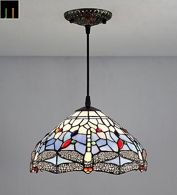 New Tiffany Blue Dragonfly Stained Glass Pendant Light Home Leadlight Home Decor