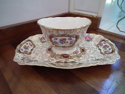 Old Foley James Kent Pompadour Pattern Pin Dish and Small Pot