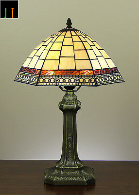 JT Tiffany Valley Forge Stained Glass Bedside Side Table lamp Light Leadlight