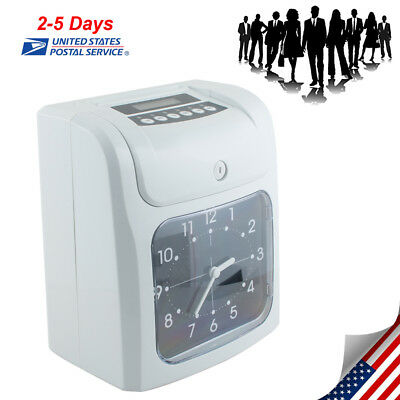Office Electronic Time Clock Card Machine Employee Work Hours Recorder US SHIP!