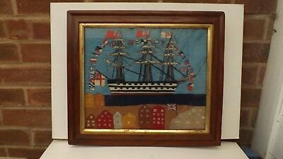 Nice 19Thc Sailors Woolwork Picture Hms Victory