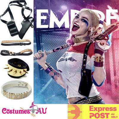Harley Quinn SUICIDE SQUAD Accessories Halloween Belt Collar Bracelets Holster