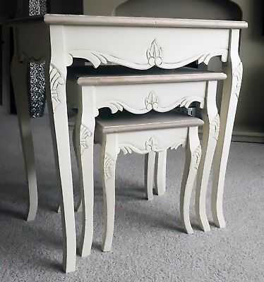 Antique french shabby chic nest of three tables