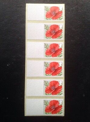 GB STAMPS Post and Go Labels POPPY  R17YAL Set of 6 - Free UK Post