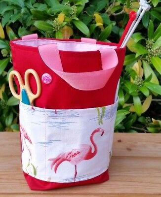 Small Red Knitting Bag with Flamingo Pockets, Pink Lining, 2 Inner Pockets