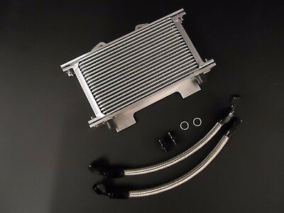 Suzuki GSXR750 GSXR1100 Oil Cooler Kit Braided Pipes Mounting Bracket BLK GSXR
