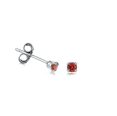 Genuine Emerald, Ruby, or Sapphire Sterling Silver Stud Earrings Size 2.00mm
