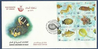 Oman Mnh 2000 Fdc First Day Cover Marine Creatures In Oman Fish Fishes