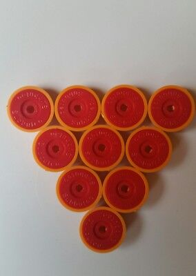 subbuteo lightweight bases x 10 orange bases and red discs