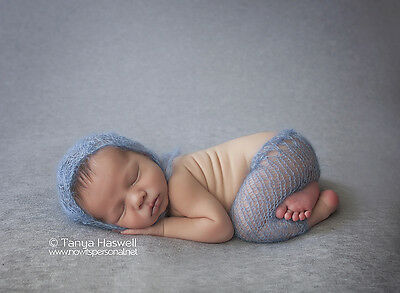 Hand Knitted Baby Stretch Mohair Bonnet Pants Photography/Photo Prop Newborn-3m