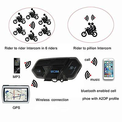 Motorcycle SCS S-1 Bluetooth Communication Unit Multi-user up to 6 riders